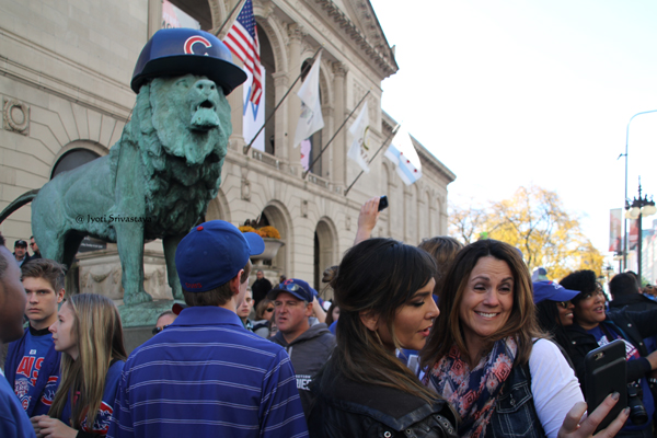 2016 when Chicago Cubs won the World Series championship. / Lions- by Edward Kemeys
