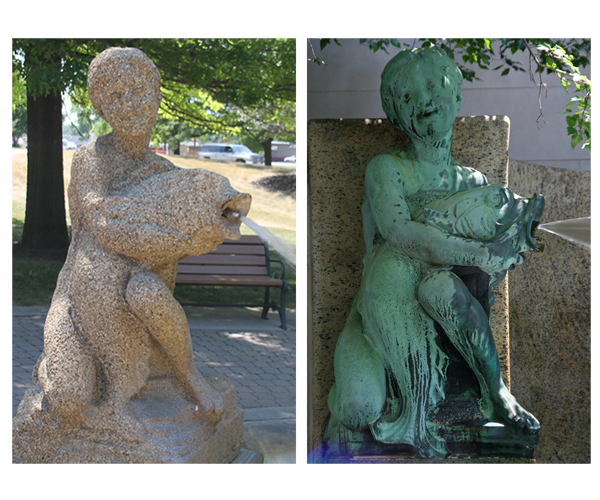 Fish Boys - by Lorado Taft / concrete [at Oregon] and bronze [at AIC, Chicago]compared.