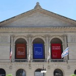 The Art Institute has two-story entrance portico