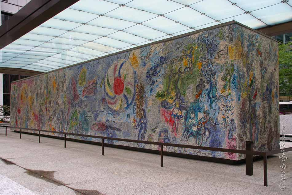 Four seasons by marc chagall for Chagall mural chicago