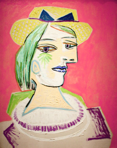 Head of a Woman with Straw Hat on a Pink Background [ Marie-Therese Walter / 1938