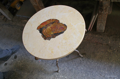 Petrified wood and marble stool by Jean Jacques
