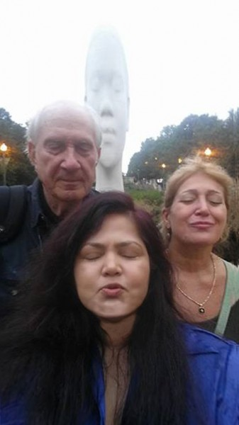 Nicole Beck, Ed McCullough and Awilda by Jaume Plensa