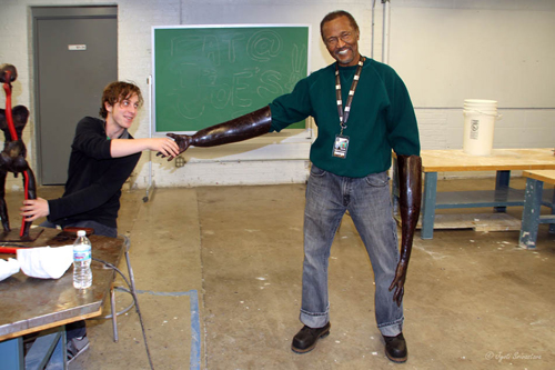Preston Jackson having some fun in the class room