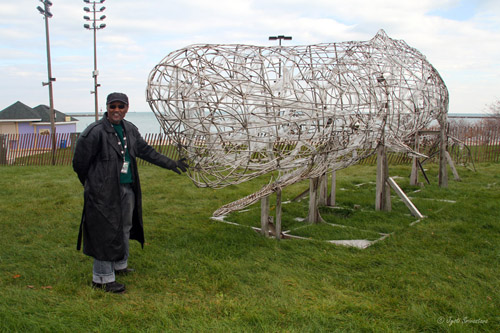 Sperm Whale sculpture - by Preston Jackson