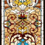 Floral, composition with central star - by possibly Sebiling Wells Glass Company