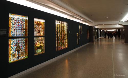 macy s pedway with installation of american victorian stained glass