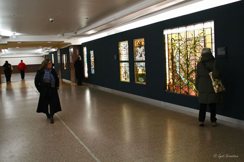 Macy's pedway with American Victorian Stained Glass Windows