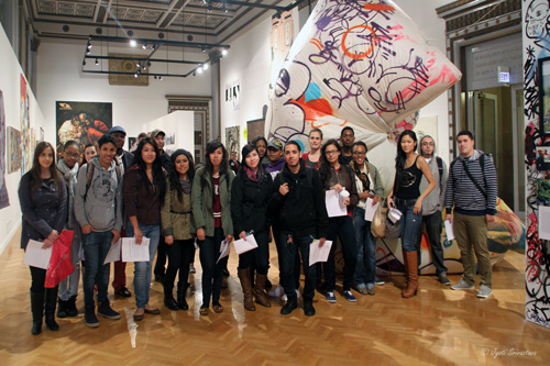 Group of Art Students at the exhibition Paint-Paste-Sticker