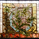 Large Square Window  of Leaves, Branches and Vines - by Ruby Brothers Art Glass Company