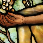 Painted Glass: face and hands