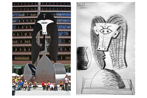 Left image shows the finished sculpture and Right image shows early drawings by Picasso.