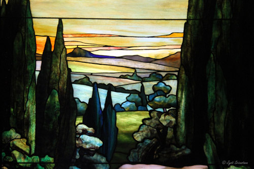 Details:  Landscape with Yellow Sky – by Agnes F. Northrop / Tiffany Studio