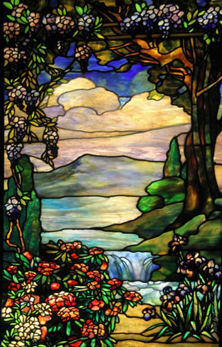 Landscape with waterfall – Agnes F. Northrop / Tiffany Studio