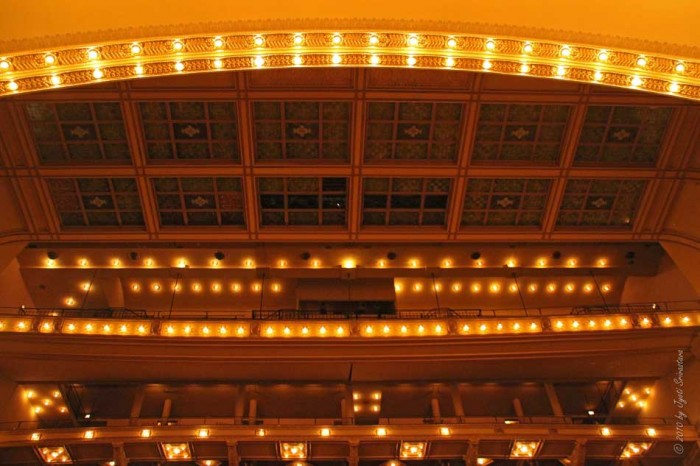 Skylight and exposed light bulbs at Auditorium Theater