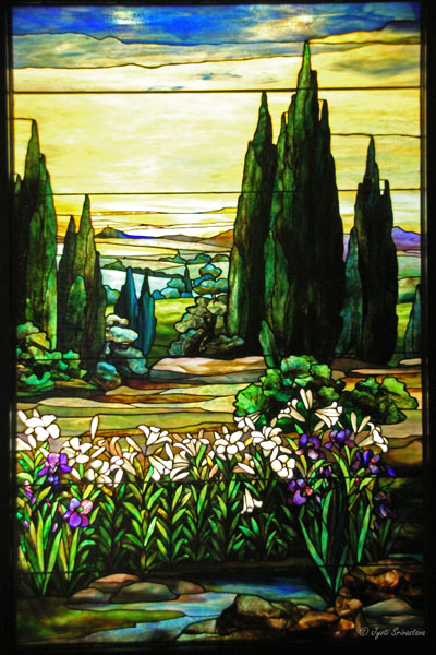 Landscape with Yellow Sky – by Agnes F. Northrop / Tiffany Studio