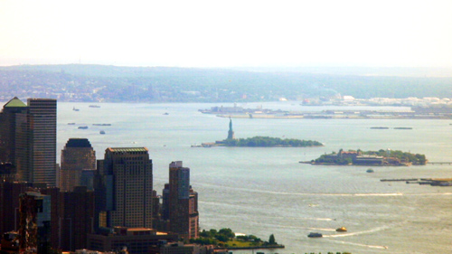 Liberty Island and Ellis Island - as seen from Empire State Bldg.
