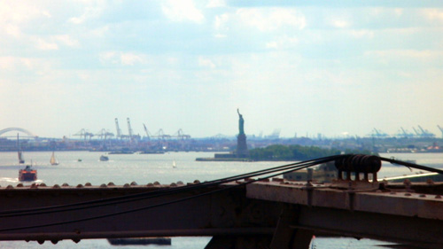 Statue of Liberty - as seen from Brooklyn Bridge