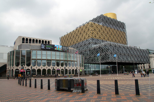 Centenary Square with Birmingham Public Library and Birmingham REP Theater