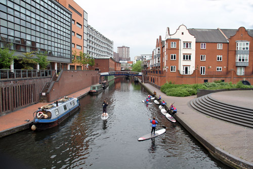 Birmingham Canal, with International Convention Center to the right and Briindley Place to the left