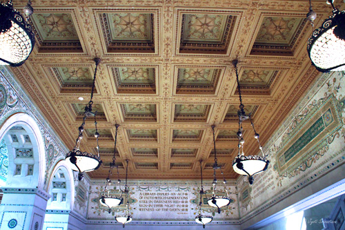 Outer Hall - with coffered ceiling and tablets with popular quotes of famous people.