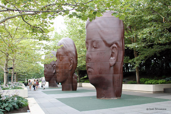 Laura, Paula and Ines – by Jaume Plensa at South Boeing Gallery, Millennium Park