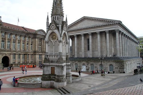 Chamberlain Square, Birmingham with Town Hall and City Council in the background