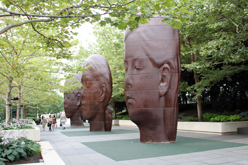 Laura, Paula and Ines – by Jaume Plensa at South Boeing Gallery, Millennium Park.