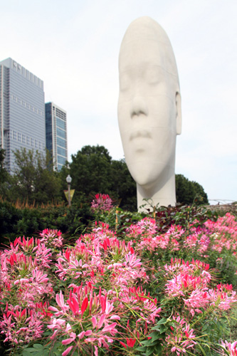 Looking into My Dreams Awild – by Jaume Plensa at Madison Square entrance, Millennium Park