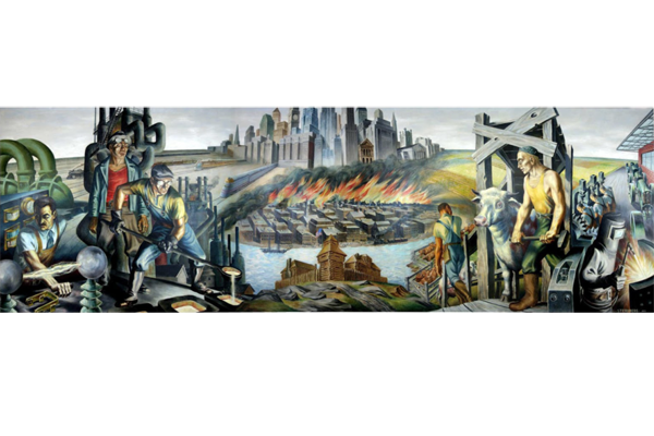 "Mural "" Epic of a City"" by Harry Sternberg  [1937]..  Under New Deal's  Federal Arts Project [FAP]"