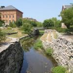Boneyard Creek flows through the university campus..