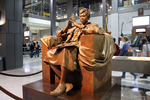 Barbara Jordan Memorial Statue by Bruce Wolfe at Austin-Bergstrom International Airport.