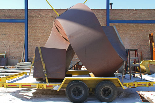 Restoration of Spiral [1971] by Clement Meadmore, at Vector Fabrication  in 2010