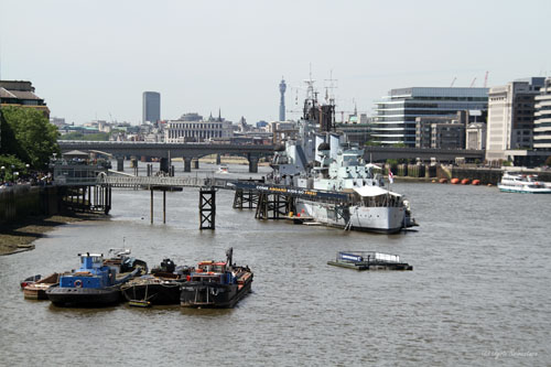 London cityscape from Tower Bridge - HMS Belfast