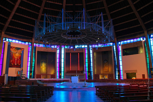 Liverpool Metropolitan Cathedral - The nave and sanctuary of the Cathedral .