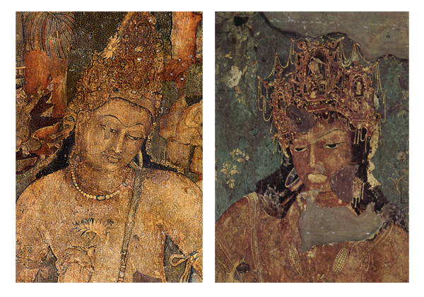 Cave 1 murals: Padmapani and Vajrapani