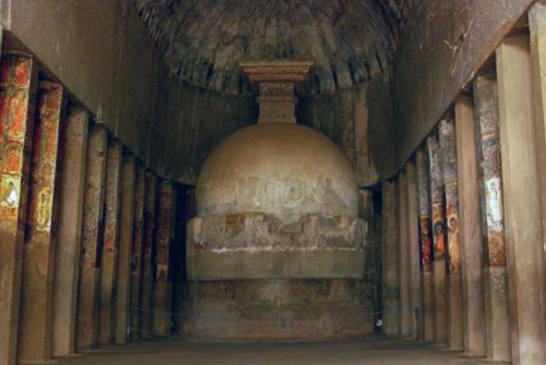 Cave 9 - chaityagriha / Prayer Hall.. 2nd century BC. Stupa, but no Buddha statue.