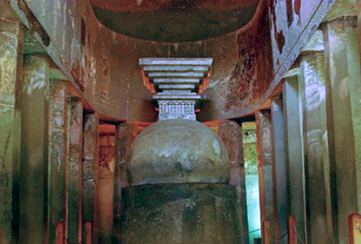 Cave 10 -  chaityagriha / Prayer Hall.. 2nd century BC.- Oldest Cave.  Stupa, but no Buddha statue.