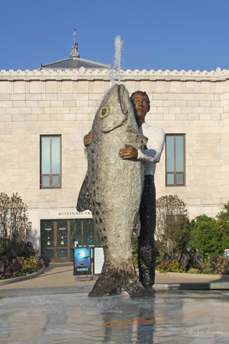 Man with Fish - by Stephan Balkenhol