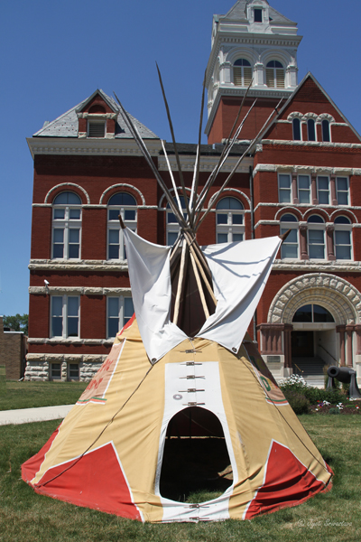 Tipi on the lawn of the county courthouse