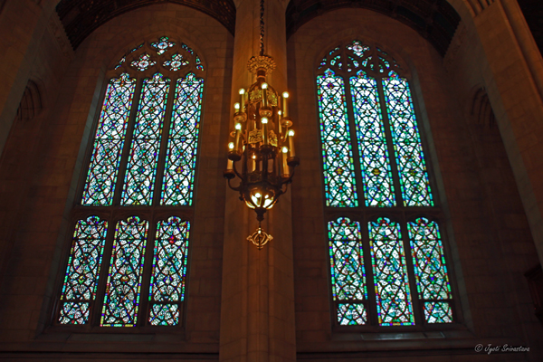 Stained glass windows along the side aisles - Fourth Presbyterian Church
