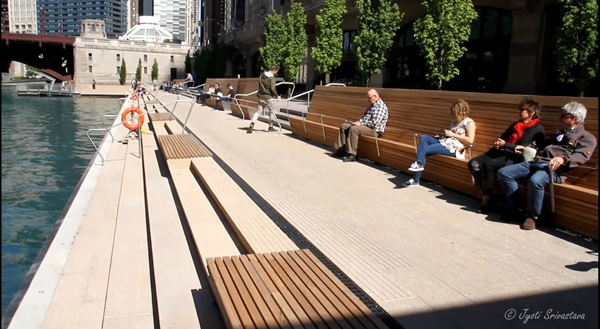 Marine Plaza - Between State and Dearborn streets.