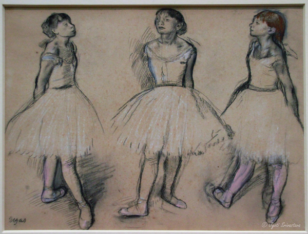 Three Studies of a Dancer in Fourth Position - by Edgar Degas