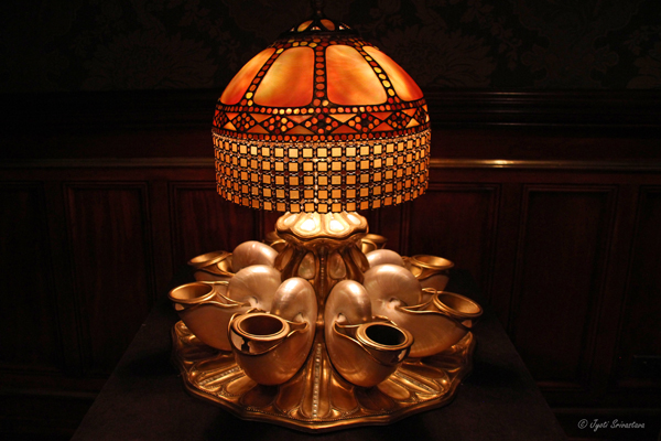 Tiffany nautilus shell centerpiece lamp at Nickerson Mansion.