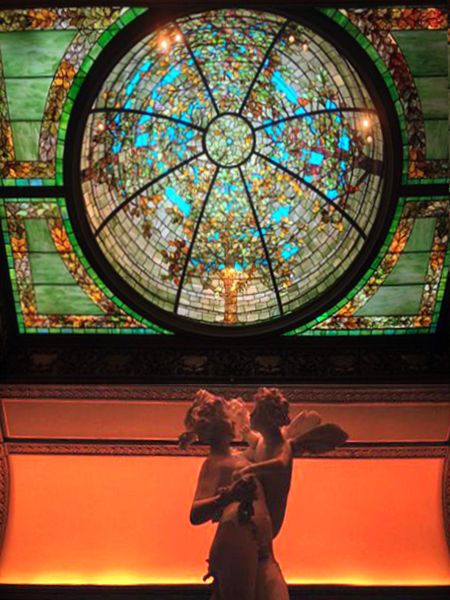 Stained glass dome at Nickerson Mansion