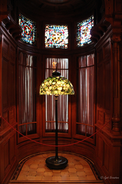 Tiffany lamp and stained glass windows at Nickerson Mansion