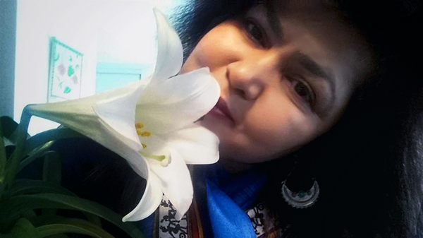 Selfie with Flower series: Easter Lily