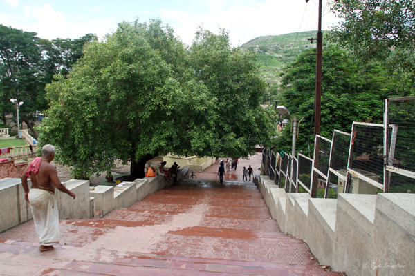 Stairways leading to the Rajgir Hot Water Spring