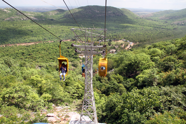 Rajgir chair-lift aerial ropeway to Ratnagiri hilltop to view the World Peace Pagoda.