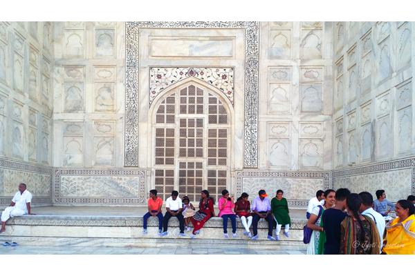 Taj Mahal: Lattice screen, calligraphy, Dados, Pietra dura and Ornamental niches.